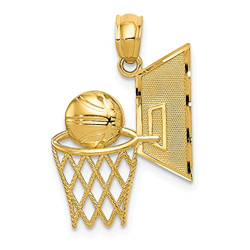 14k Yellow Gold Basketball Pendant Charm Necklace Sport Fine Jewelry Gifts For Women For Her ()
