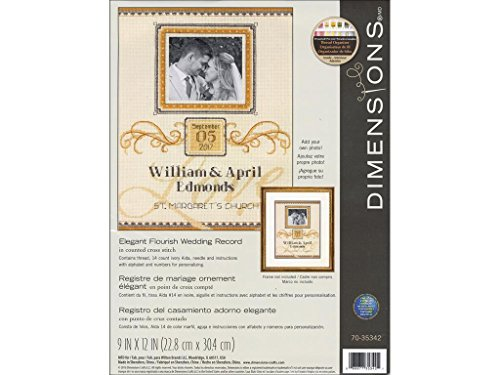 Dimensions 'Elegant Flourish' Wedding Gift Counted Cross Stitch Kit for Beginners, 14 Count Ivory Aida Cloth, 9'' x 12''