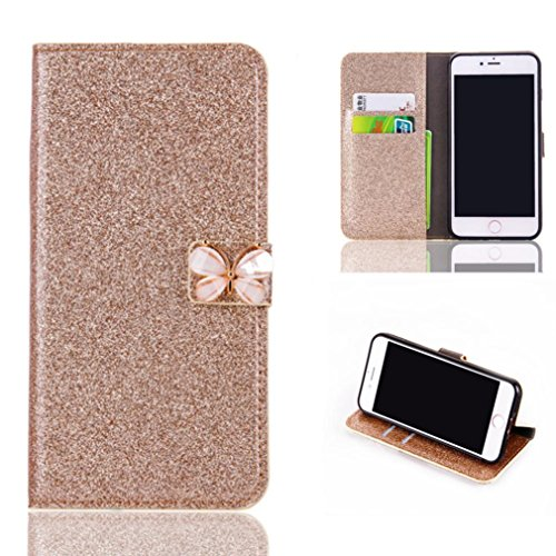 Price comparison product image Stand Wallet Card Case Cover,Elaco Women Iphone Case For iPhone 6/6s 4.7 inch /For iPhone 6 Plus 5.5inch/ iPhone 7 4.7inch/iPhone 7 Plus 5.5inch (Gold, iPhone 6/6s 4.7Inch)