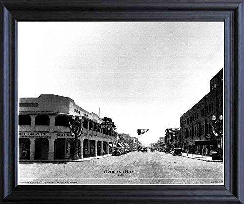 - Impact Posters Gallery Las Vegas, Overland Hotel 1930 Vintage Motor Car Old City Black and White Black Framed Wall Decor Art Print Picture