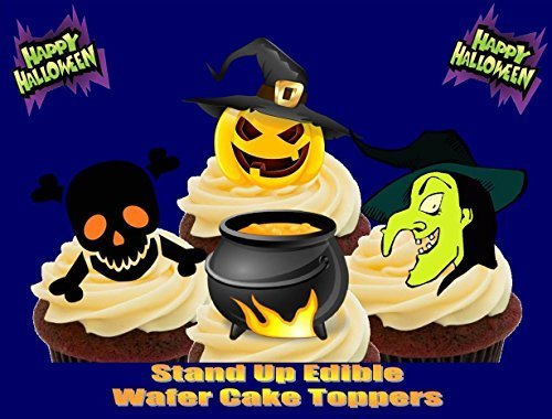 Halloween Witch Cauldron Skull Pumpkin Mix - Fun Novelty PREMIUM STAND UP Edible Wafer Paper Cake Toppers (Halloween Cauldron Cake)