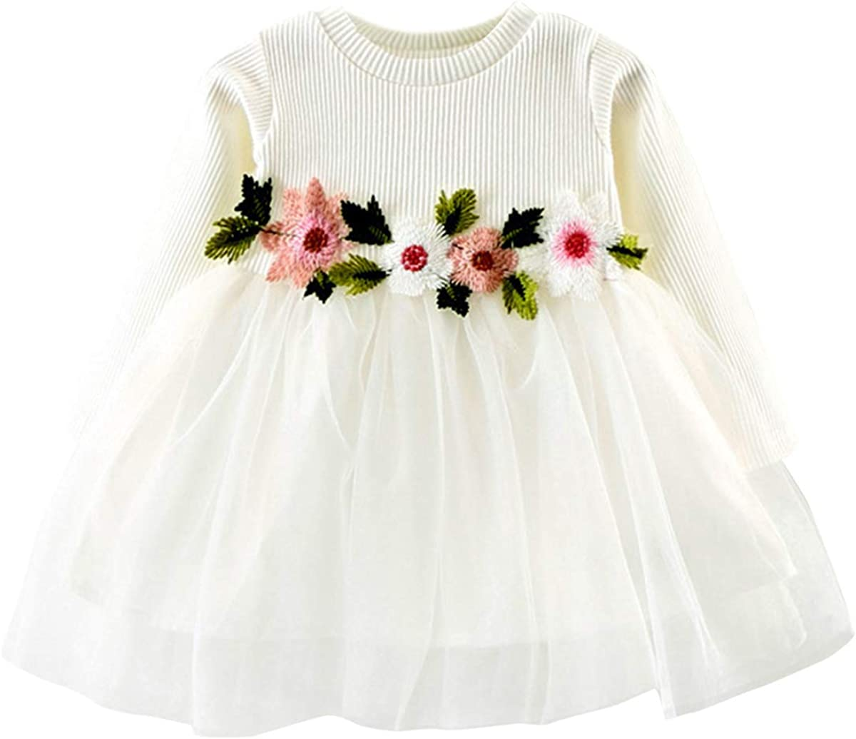 DaMohony Baby Girl Dress Long Sleeve Cotton Mesh Flower Dress Party Wedding Pageant Princess Dress for 0-24 Months