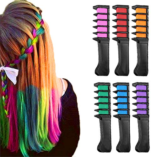 New Hair Chalk Comb Temporary Hair Dye Hair Color Brush -MSDADA Hair Chalk Comb for Adults Kids & Children - Boys & Girls Perfect Gift Idea Set for Party, Cosplayo(6 pcs)