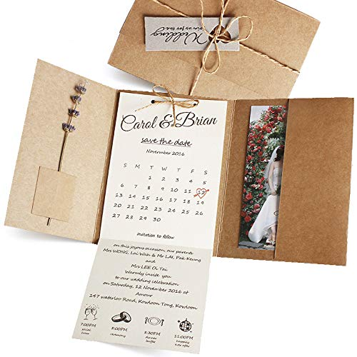 25-Pack Rustic Wedding Invitations with Photo by Picky Bride, Vintage Save The Date, Unique Invite Cards, Kraft Paper Envelope Included 12 x 17cm – Set of 25 pcs