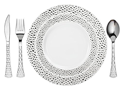 Tiger Chef 100-Pack Heavy Duty Silver Hammered Rim Disposable Party Supplies Set for 20 Guests, incl 20 10.25-Inch Dinner Plates, 20 7.5-Inch Hard Plastic Plates, 20 Hammered Plastic Cutlery, BPA-Free