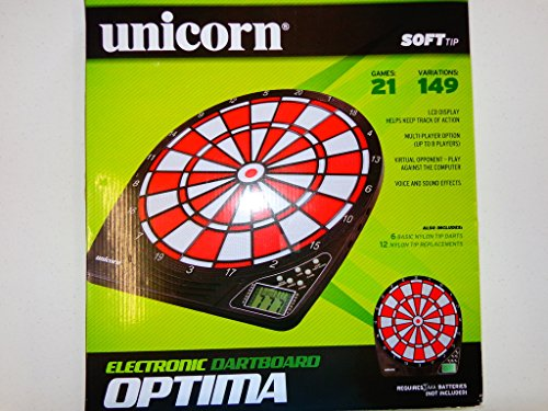 New Unicorn Optima Electronic Dart Board 21 Games 149 Variations Red/Black - Optima Electronic