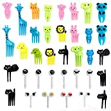 Sakolla Set of 36 Lovely Animal Food Fruit Picks Forks Bento Box Lunch Box Decor Animal Mini Cartoon Toothpick Bento Lunch Decorative