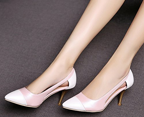 IDIFU Womens Unique Hollow Out Contrast Color High Stiletto Heels Slip On Pumps Pink DkJnF