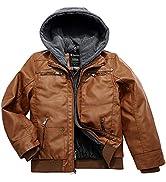 Wantdo Boy's Faux Leather Jacket Waterproof Zipper Coat with Removable Hood