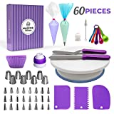 Whryspa Cake Decorating Kit Supplies with Revolving Cake Turntable,Silicon Spatula and Cake Server/Cutter Baking Cake Decorating Supplies,60pieces