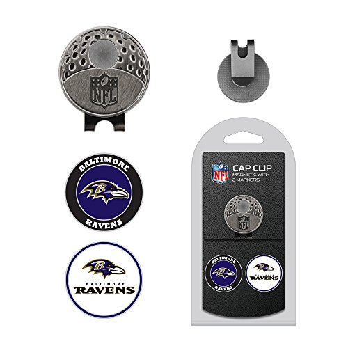 Ball Tool Golf Divot Cap (Team Golf NFL Baltimore Ravens Golf Cap Clip with 2 Removable Double-Sided Enamel Magnetic Ball Markers, Attaches Easily to Hats)