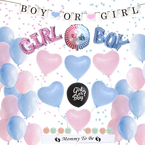 Gender Reveal Party Supplies (72 Piece) / Boy or Girl Baby Shower Confetti Balloons, Decorations for Pregnant Moms / Large Blue & Pink Heart Balloons / Gender Reveal Balloon / Black Balloon / Mommy to Be Ideas ()