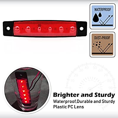 Meerkatt (Pack of 20) 3.8 Inch Red 6 LED Side Marker Indicators Light SMD Super Brightness Clearance Lamp Waterproof Turn Signal Brake Stop Tail Trucks Trailers Vans Buses Ambulance 12v DC Model TK12: Automotive