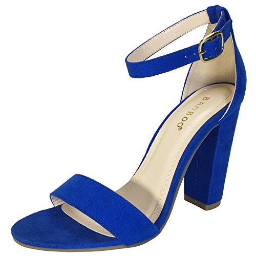 Heel Women's Suede Faux Single BAMBOO Ankle Blue Strap Sandal Sapphire Band With Chunky aRIxdq