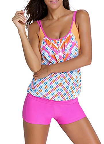 (EVALESS Womens Shoulder Straps Tankini Top with Built in Sports Bra Swimwear XXX-Large Size Rosy)