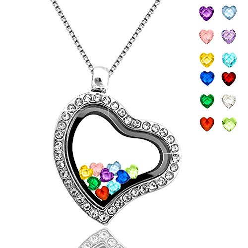 Floating Living Memory Lockets Pendant Necklace 30mm Round Toughened Glass All Birthstone Charms Include … (Mothers Birthstone Heart Charm Pendant)