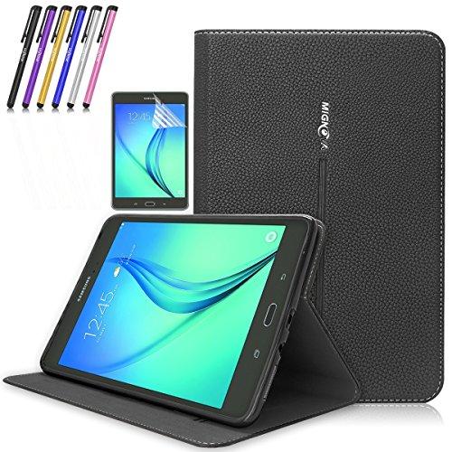 Galaxy Tab A 8.0 Case, Mignova Premium PU Leather Folio Case Smart Cover with Auto Sleep/Wake for Samsung Galaxy Tab A 8.0 Inch SM-T350 SM-P350 + Screen Protector Film and Stylus Pen (Black)