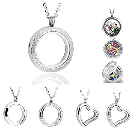 PiercingJ Round Heart Stainless Steel Locket Floating Charm Pendant Necklace - 21.5
