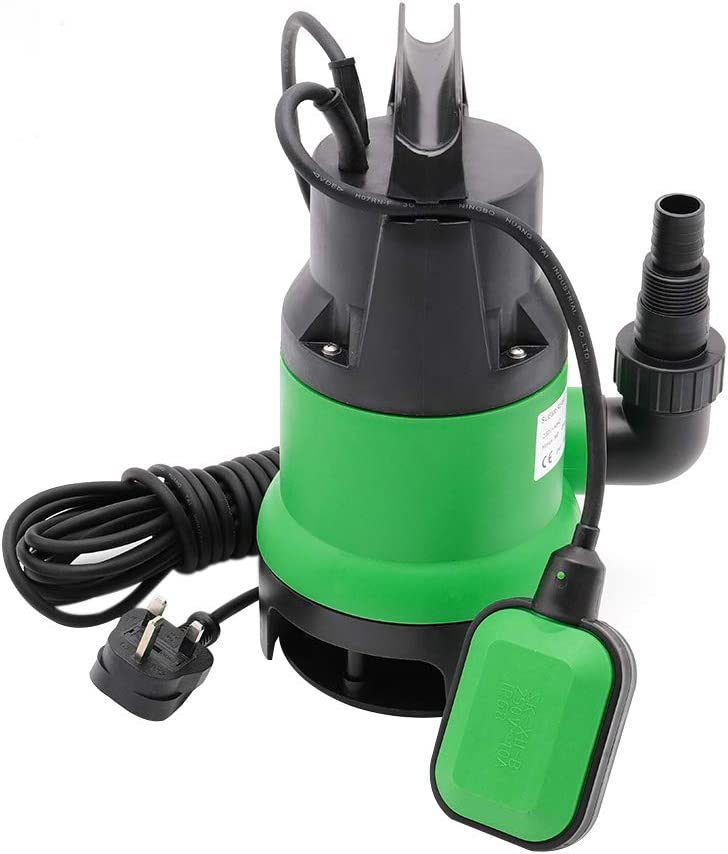 DKIEI Submersible Pump 250W Electric High Power Submersible Water Pump for Garden Pond Well Flood Clean 230V, 5000//H, Lift 6m