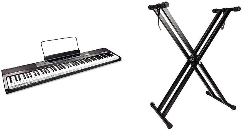 RockJam Teclado de piano digital para principiantes Piano con teclas semipesadas de tamaño completo + Soporte de teclado de doble refuerzo, Ajustable ...