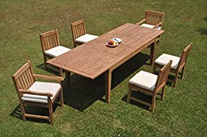 """6 Seats 7 Pcs Grade-A Teak Wood Dining Set: 122"""" Caranas Double Extension Rectangle Table and 6 Devon Chairs (2 Arm & 4 Armless Chairs) #WHDSDV49"""
