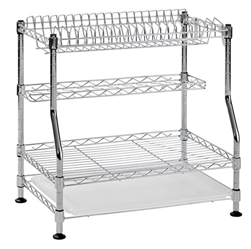 (Muscle Rack WDR181217 3-Tier Wire Dish Rack, Chrome, 17