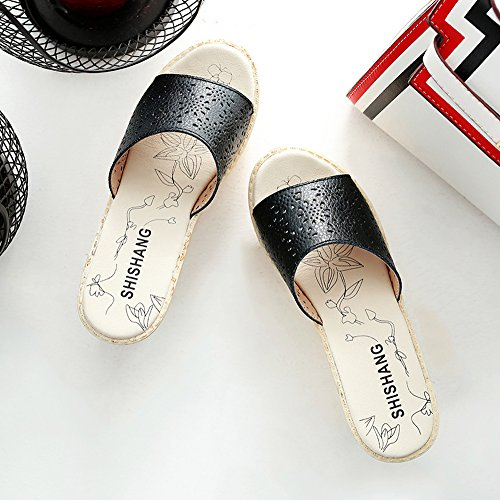 Enllerviid Vrouwen Open Teen Hol Platform Wiggen Lederen Dia Sandalen Zwart