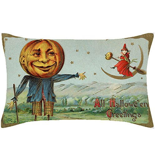 Price comparison product image PaigeHamelf Halloween Scarecrow Pillow Covers Decorative Halloween Accent Pillows Pillowcase 13 x 21 Inch