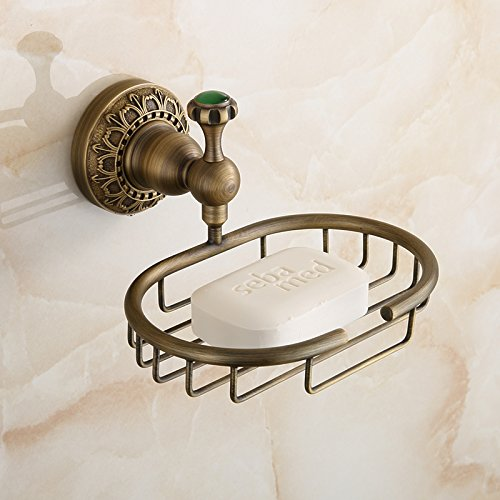 Beelee Elegant Solid Brass Material Soap Basket Soap Dish Holder Wall Mount Bath Soap Storage (Elegant Baskets)