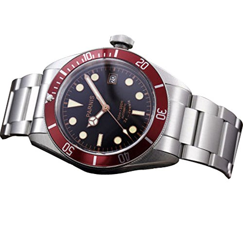 Whatswatch 41mm Parnis black dial Sapphire glass 24 jewels Miyota automatic mens watch PA-0109