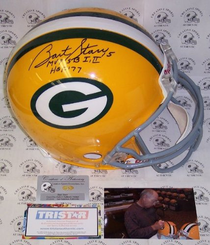 Bart Starr Autographed Hand Signed Green Bay Packers Throwback Full Size Authentic Football Helmet - with MVP SB I,II & HOF 77 Inscriptions - (Autographed Authentic Football Helmet)