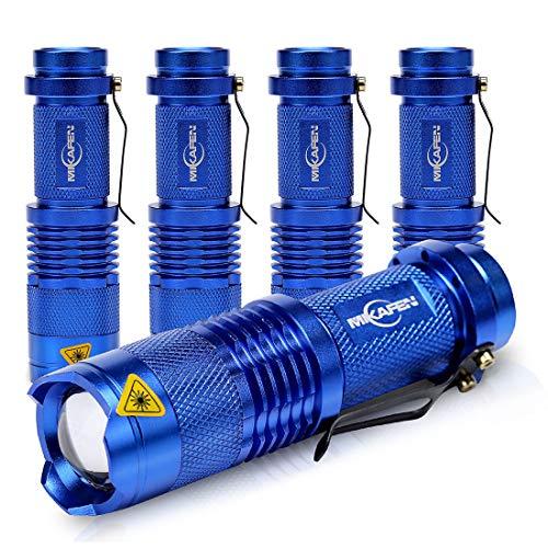 5 Pack Mini Flashlights LED Flashlight 300lm Adjustable Focus Zoomable Light (Blue)