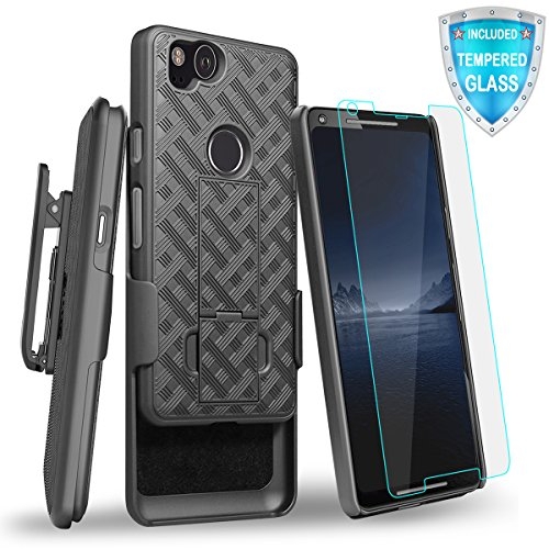 Google Pixel 2 Case, Cellularvilla Kickstand Belt Clip Holster Case with Tempered Glass Screen Protector for Google Pixel 2 - Black