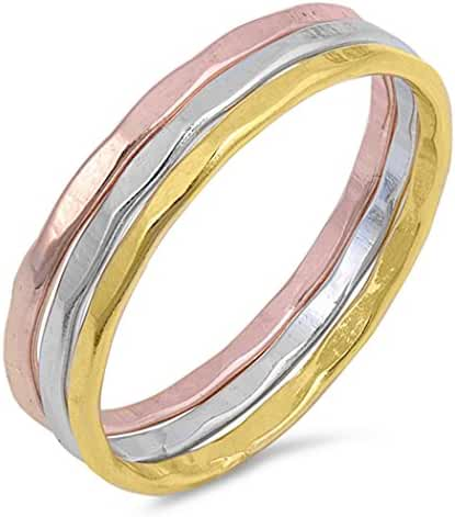 Sterling Silver Tri-Tone Hammered Stackable Ring Set (Size 4 - 10)
