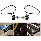 "LeaningTech 7/8"" Motorcycle CNC Billet Aluminum 22 Handlebar Bar End Mount Glare Rearview Sports Side Mirrors Black"