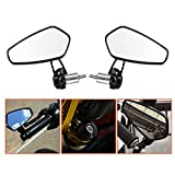 LeaningTech 7/8'' Motorcycle CNC Billet Aluminum 22 Handlebar Bar End Mount Glare Rearview Sports Side Mirrors Black