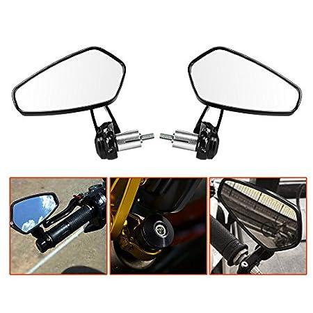 LTC/® 2 universel 7//8 Moto R/étroviseur miroir Guidon 360 /° Rotatif /& Angle r/églable Miroir ext/érieur en aluminium Noir