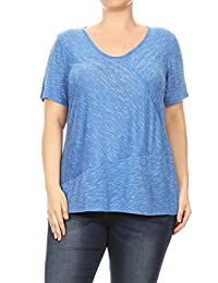 Women Plus Size V-Neck Rhinestone Design Fashion Top Tee Blouse 1XL-3XL