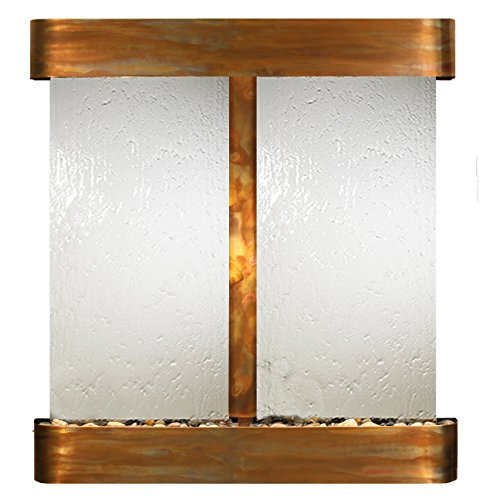 Aspen Falls Water Feature with Rustic Copper Trim and Round Edges (Silver Mirror) ()