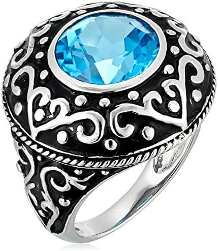 Sterling Silver Baroque-Inspired Round Swiss Blue Topaz Ring