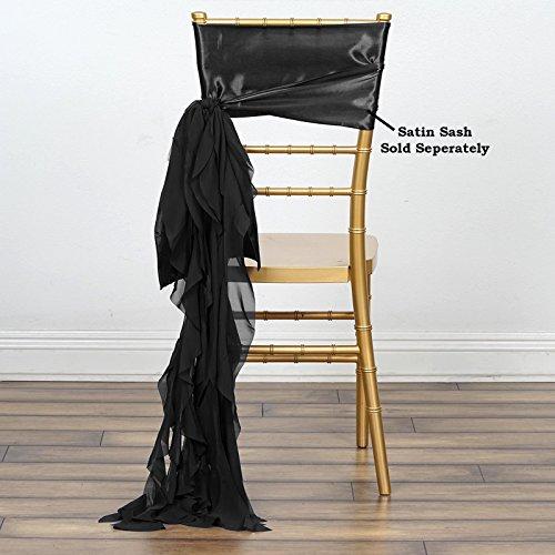Sash Chiffon (BalsaCircle 10 Black Curly Chiffon Chair Sashes Bows Ties - Wedding Party Ceremony Reception Decorations Cheap Supplies Wholesale)