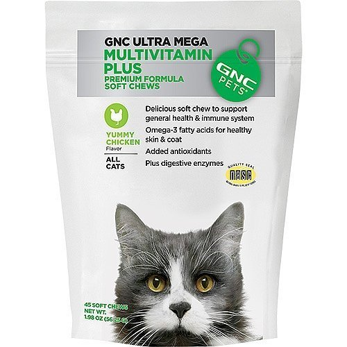 GNC Pets Ultra Mega Multivitamin Plus for all Cats 45 Premium Formula Soft Chews Chicken Flavor by GNC (Chew Chicken Flavor)