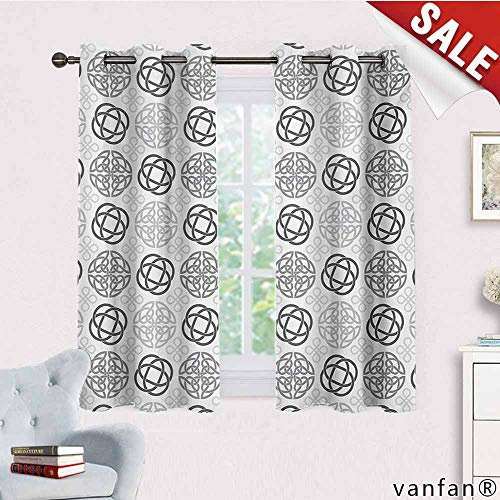 Big datastore Thermal Insulated Solid Grommet Curtain,Celtic,Traditional Ireland Round Cross Celtic Love Knots with Shamrock Motifs Art Pattern,for Window Treatment,Grey White,W63 Xl45 ()