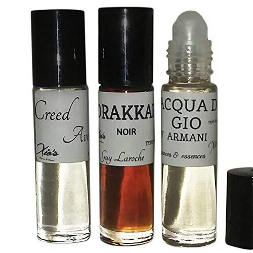 Bundle for Men Top 3 Cologne Impressions Best Sellers Fragrances Oils (Affordable Alternative Generic Version) Set of 3 10.35 ml Roll-on Bottles,We keep you smelling good!