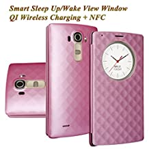 LG G4 Case, Aomax® Smart Quick Circle wake up / sleep view window, Wireless Charger Qi Standard Wireless Charging receiver IC Chip With NFC Function Cover For LG G4 (Pink)