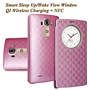 LG G4 Case, Aomax Smart Quick Circle wake up / sleep view window, Wireless Charger Qi Standard Wireless Charging receiver IC Chip With NFC Function Cover For LG G4 (Pink)