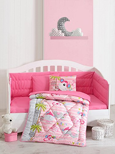6 Pcs Luxury Soft Colored Bedroom Bedding 100% Cotton Ranforce Baby Sleep Set Quilt Protector / Soft Relaxing Comfortable Pattern Design Monkey Palm Sweet / Baby Bed Size with Flat Seet Sevimli Maymun