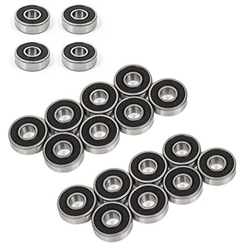 Fireball Supply Co. Precision 608-2RS Bearings, Double-Shielded (20 Pack) for Skateboards, Longboards, Spinners, Industrial, etc. (Lubricated - 20 ()