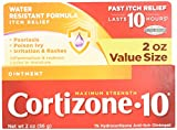 Cortizone 10 Maximum Strength Ointment, 2 Ounce, Anti-Itch Ointment for Poison Ivy, Suman or Oak, Bug Bites, Eczema, Psoriasis, or Contact Dermatitis, Helps Bring Fast Relief to Itching Skin