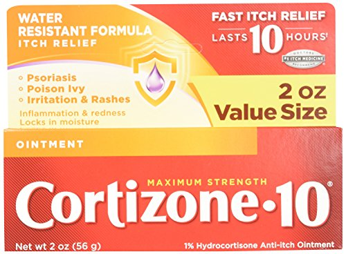 Cortizone 10 Maximum Strength Ointment, 2 Ounce, Anti-Itch Ointment for Poison Ivy, Suman or Oak, Bug Bites, Eczema, Psoriasis, or Contact Dermatitis, Helps Bring Fast Relief to Itching Skin (Best Over The Counter Steroid Cream)